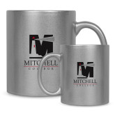 Full Color Silver Metallic Mug 11oz-Mitchell College Vertical Logo