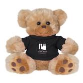Plush Big Paw 8 1/2 inch Brown Bear w/Black Shirt-Mitchell College Vertical Logo