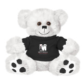 Plush Big Paw 8 1/2 inch White Bear w/Black Shirt-Mitchell College Vertical Logo