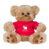 Plush Big Paw 8 1/2 inch Brown Bear w/Red Shirt-Mitchell College Vertical Logo