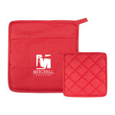 Quilted Canvas Red Pot Holder-Mitchell College Vertical Logo