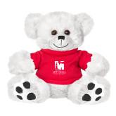 Plush Big Paw 8 1/2 inch White Bear w/Red Shirt-Mitchell College Vertical Logo