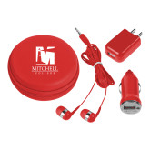3 in 1 Red Audio Travel Kit-Mitchell College Vertical Logo