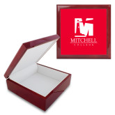 Red Mahogany Accessory Box With 6 x 6 Tile-Mitchell College Vertical Logo