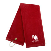 Red Golf Towel-Mitchell College Vertical Logo