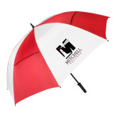 62 Inch Red/White Vented Umbrella-Mitchell College Vertical Logo