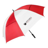 62 Inch Red/White Vented Umbrella-Mitchell College Horizontal Logo