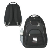 The Ultimate Black Computer Backpack-Mitchell College Vertical Logo