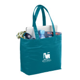 Fine Society Teal Computer Tote-Mitchell College Vertical Logo