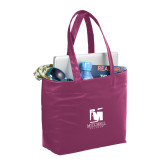 Fine Society Berry Computer Tote-Mitchell College Vertical Logo