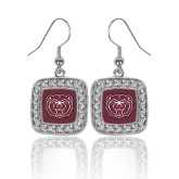 Crystal Studded Square Pendant Silver Dangle Earrings-Bear Head