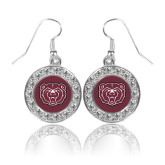 Crystal Studded Round Pendant Silver Dangle Earrings-Bear Head
