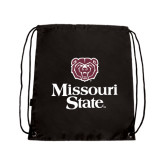 Black Drawstring Backpack-Bear Head Missouri State Stacked
