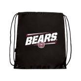 Black Drawstring Backpack-Slanted Bears w/ Bear Head