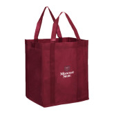 Non Woven Maroon Grocery Tote-Bear Head Missouri State Stacked