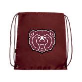 Maroon Drawstring Backpack-Bear Head