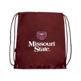 Maroon Drawstring Backpack-Bear Head Missouri State Stacked
