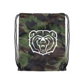 Camo Drawstring Backpack-Bear Head