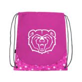Nylon Pink Bubble Patterned Drawstring Backpack-Bear Head