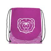 Nylon Zebra Pink/White Patterned Drawstring Backpack-Bear Head