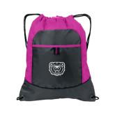 Nylon Pink Raspberry/Deep Smoke Pocket Drawstring Backpack-Bear Head