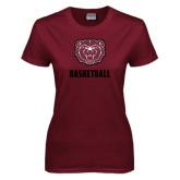 Ladies Maroon T Shirt-Basketball