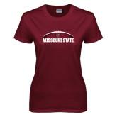 Ladies Maroon T Shirt-Missouri State Football w/ Ball