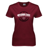Ladies Maroon T Shirt-Missouri State Basketball Arched w/ Ball