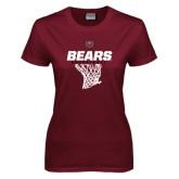 Ladies Maroon T Shirt-Bears Basketball Hanging Net