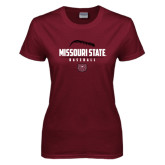 Ladies Maroon T Shirt-Missouri State Baseball Stacked