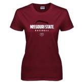 Ladies Maroon T Shirt-Missouri State Baseball Stacked