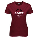 Ladies Maroon T Shirt-Bears Volleyball Stacked