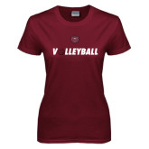 Ladies Maroon T Shirt-Volleyball w/ Ball