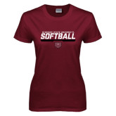 Ladies Maroon T Shirt-Missouri State University Volleyball Stencil