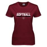 Ladies Maroon T Shirt-Missouri State University Volleyball Stencil