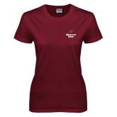 Ladies Maroon T Shirt-Bear Head Missouri State Stacked