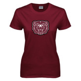 Ladies Maroon T Shirt-Bear Head