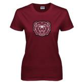 Ladies Maroon T Shirt-Bear Head