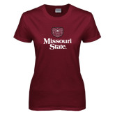 Ladies Maroon T Shirt-Bear Head Missouri State Stacked