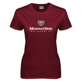 Ladies Maroon T Shirt-Missouri State University Stacked w/ Bear Head