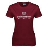 Ladies Maroon T Shirt-Missouri State University Stacked w/ Bear Head
