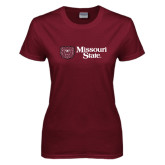 Ladies Maroon T Shirt-Horizontal Missouri State w/ Bear Head