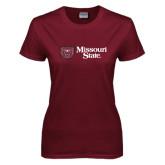 Ladies Maroon T Shirt-Horizontal Missouri State w/ Bear Head