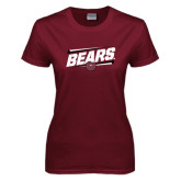 Ladies Maroon T Shirt-Slanted Bears w/ Bear Head
