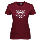 Ladies Maroon T Shirt-Bear Head Distressed