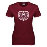 Ladies Maroon T Shirt-Bear Head Distressed