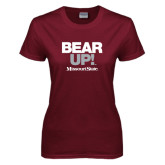 Ladies Maroon T Shirt-Bear Up!