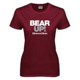 Ladies Maroon T Shirt-Bear Up!