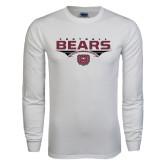 White Long Sleeve T Shirt-Bears Football Stacked