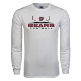 White Long Sleeve T Shirt-Bears Football w/ Field